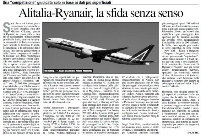 Alitalia-Ryanair, la sfida senza senso